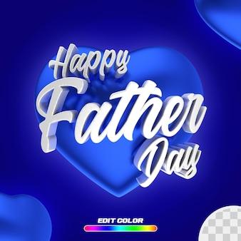 Publique feliz dia dos pais com um coração azul