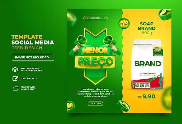 Publique mídias sociais no brasil baixo preço 3d render template design português