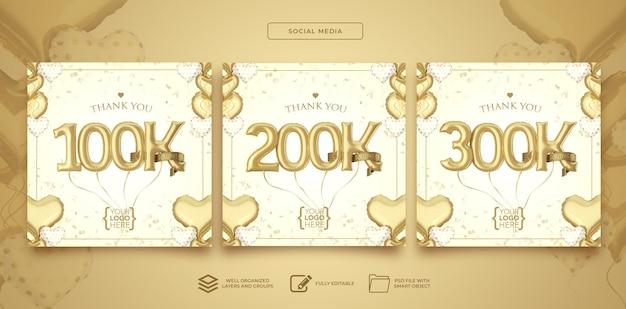Publique nas redes sociais 100k 200k 300k seguidores com balões de números renderização em 3d