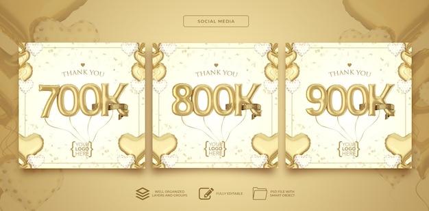 Publique nas redes sociais 700 mil 800 mil 900 mil seguidores com balões de números renderização em 3d