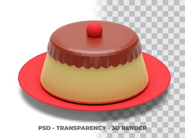 Pudim 3d render com transparência de fundo