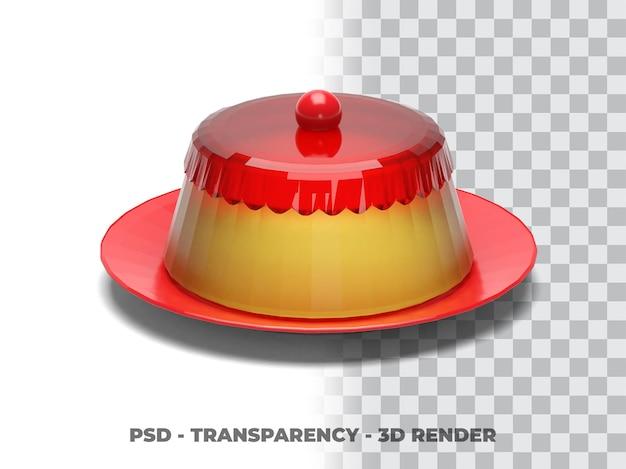 Pudim 3d render com transparência de fundo Psd Premium