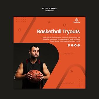 Quadrado de panfleto de testes de basquete