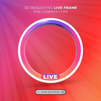 Quadro 3d de perfil redondo para streaming ao vivo do instagram nas redes sociais