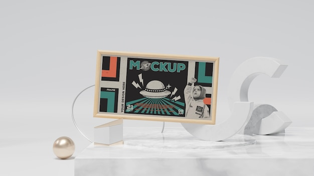 Quadro abstrato e maquete de itens decorativos