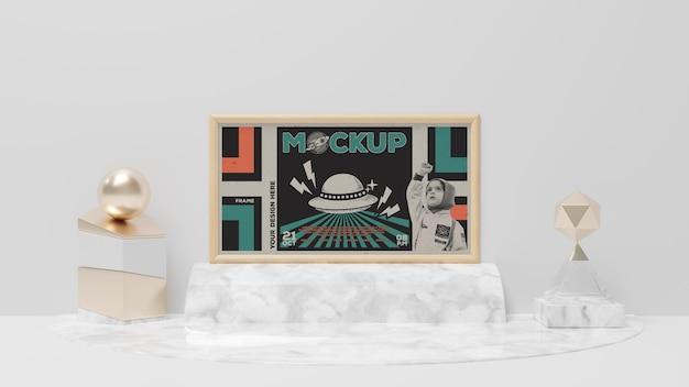 Quadro abstrato retrô e maquete de itens elegantes