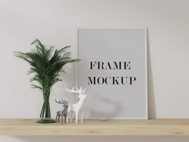 Quadro branco encostado na parede, maquete de renderização em 3d