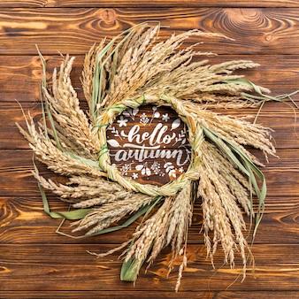Quadro circular de vista superior com grãos de trigo