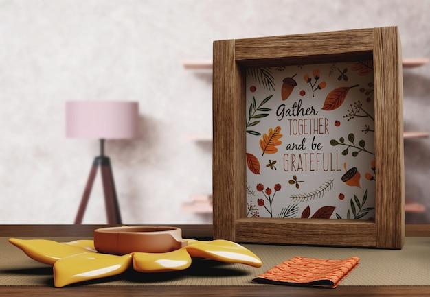 Quadro com mensagem feliz dia de ação de graças