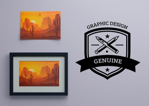 Quadro com pintura de natureza e logotipo ao lado