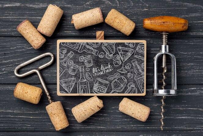 Quadro com rolhas de vinho