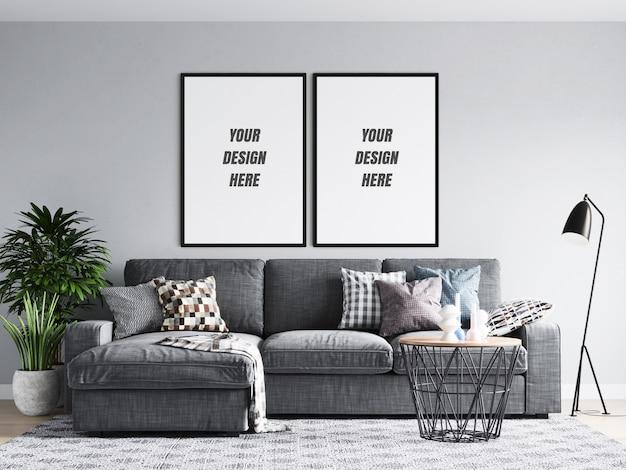 Quadro de cartaz de sala de estar e maquete de parede