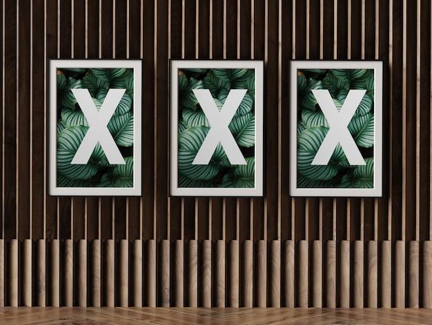 Quadro de cartaz triplo na parede