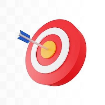 Quadro de dardos 3d para o alvo com seta bullseye psd grátis