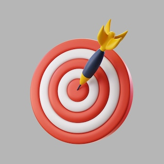 Quadro de dardos 3d para o alvo com seta bullseye