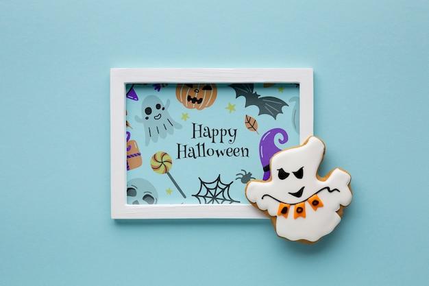Quadro de desenho de halloween e doce
