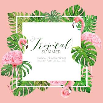 Quadro de design de folhagem tropical