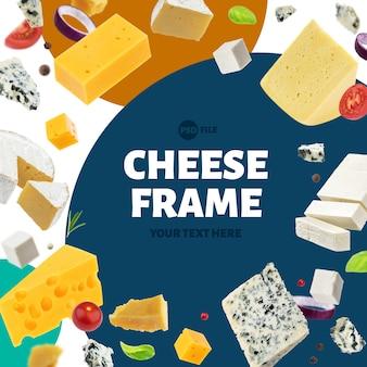 Quadro de diferentes tipos de queijo