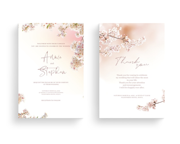 Quadro de flor linda primavera, convite, cartão de casamento, obrigado cumprimentando.