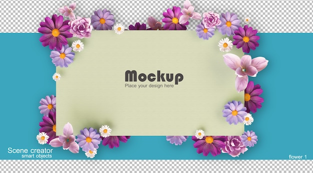 Quadro de flores para renderização 3d de decoração isolada