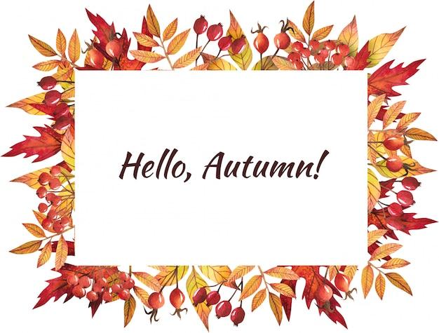 Quadro de folhas de outono pintado por aquarela