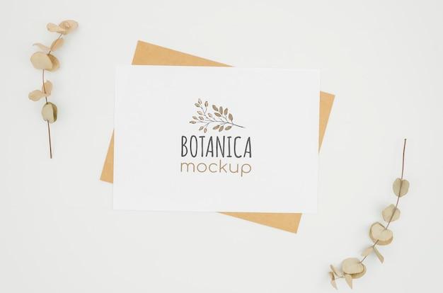 Quadro de folhas maquete botânica