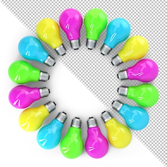 Quadro de ilustração 3d de lâmpadas coloridas