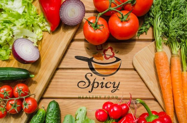 Quadro de legumes frescos e nutrientes