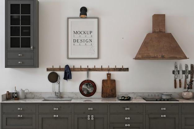 Quadro de maquete de foto em cozinha cinza minimalista