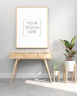 Quadro de maquete na parede com mesa