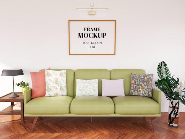 Quadro de maquete realista na sala de estar
