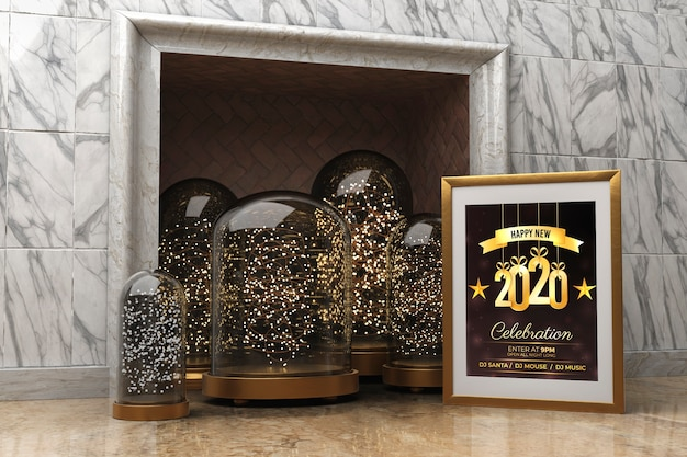 Quadro de mock-up ao lado da lareira com mensagem para o ano novo