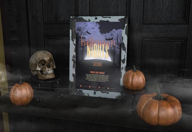 Quadro de noites de halloween com abóboras Psd grátis