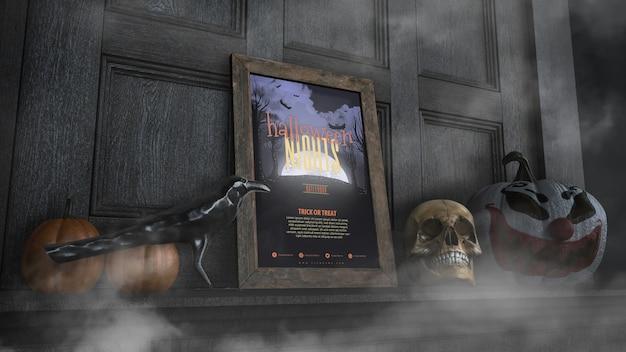 Quadro de noites de halloween de baixa vista com caveira e abóbora