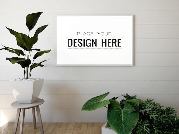 Quadro de pôster maquete na parede com planta