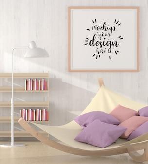 Quadro de pôster na maquete da sala de estar