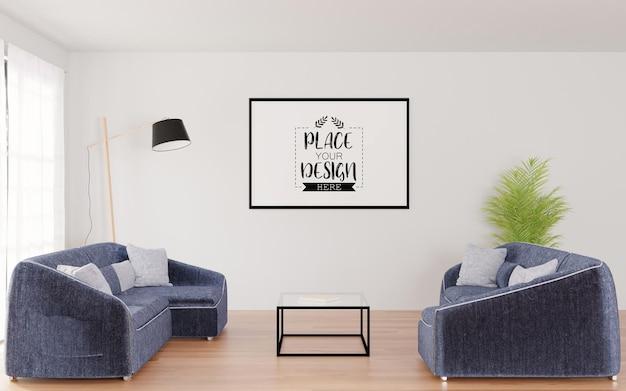 Quadro de pôster na sala de estar psd mockup