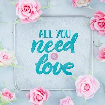 Quadro de rosas com mensagem positiva
