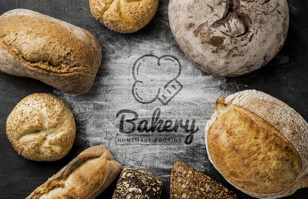 Quadro de sortimentos de pão fresco