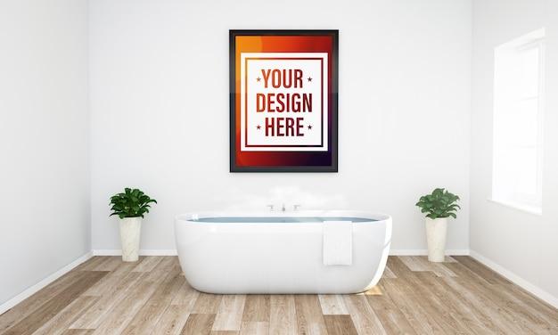 Quadro em uma maquete de banheiro