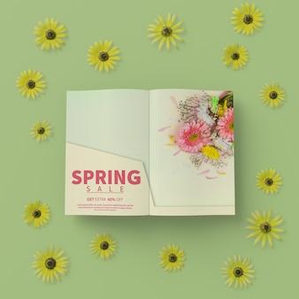 Quadro floral 3d com cartão de primavera na mesa