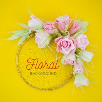 Quadro floral artístico de mock-up com mensagem positiva