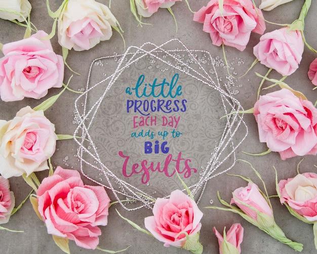 Quadro floral colorido com mensagem motivacional