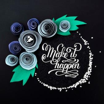 Quadro floral com maquete de citação