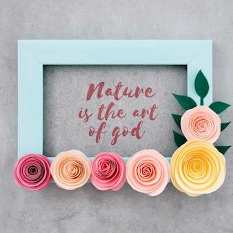 Quadro floral decorativo com citação positiva