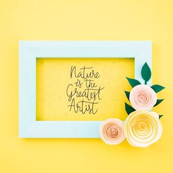 Quadro floral decorativo com citação