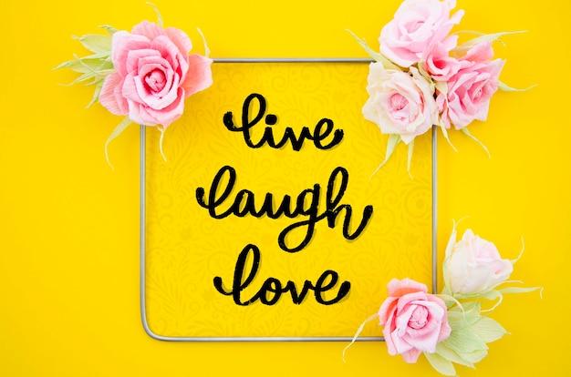 Quadro floral decorativo com citações inspiradoras