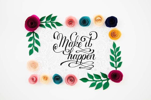 Quadro floral decorativo com mensagem motivacional