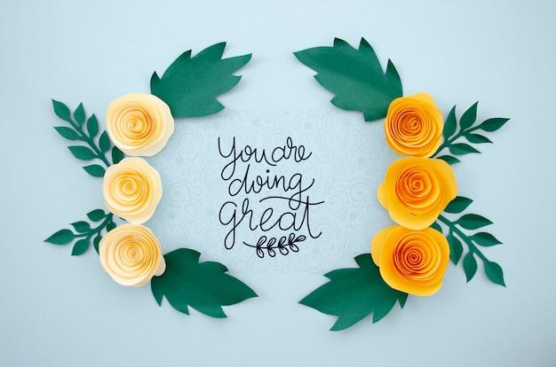 Quadro floral elegante com citação positiva