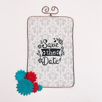 Quadro floral minimalista salvar a maquete de data